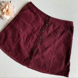 Abercrombie & Fitch Maroon Corduroy A-Line Skirt